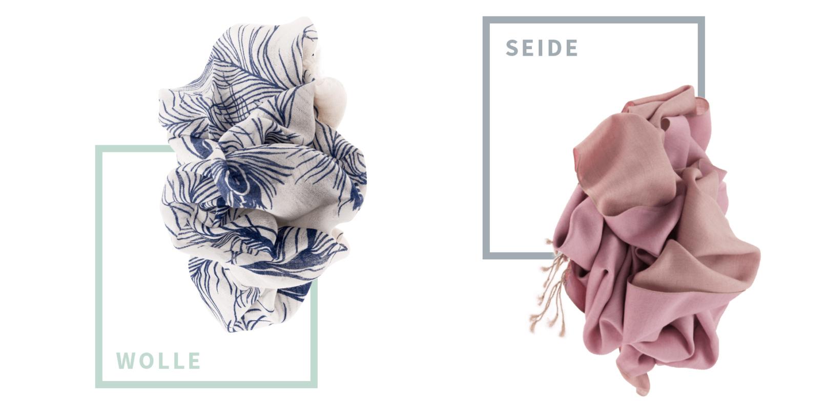 Die Schals werden aus Naturmaterialien wie Wolle und Seide hergestellt