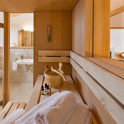 Alle Chalets verfügen über eine eigene Sauna