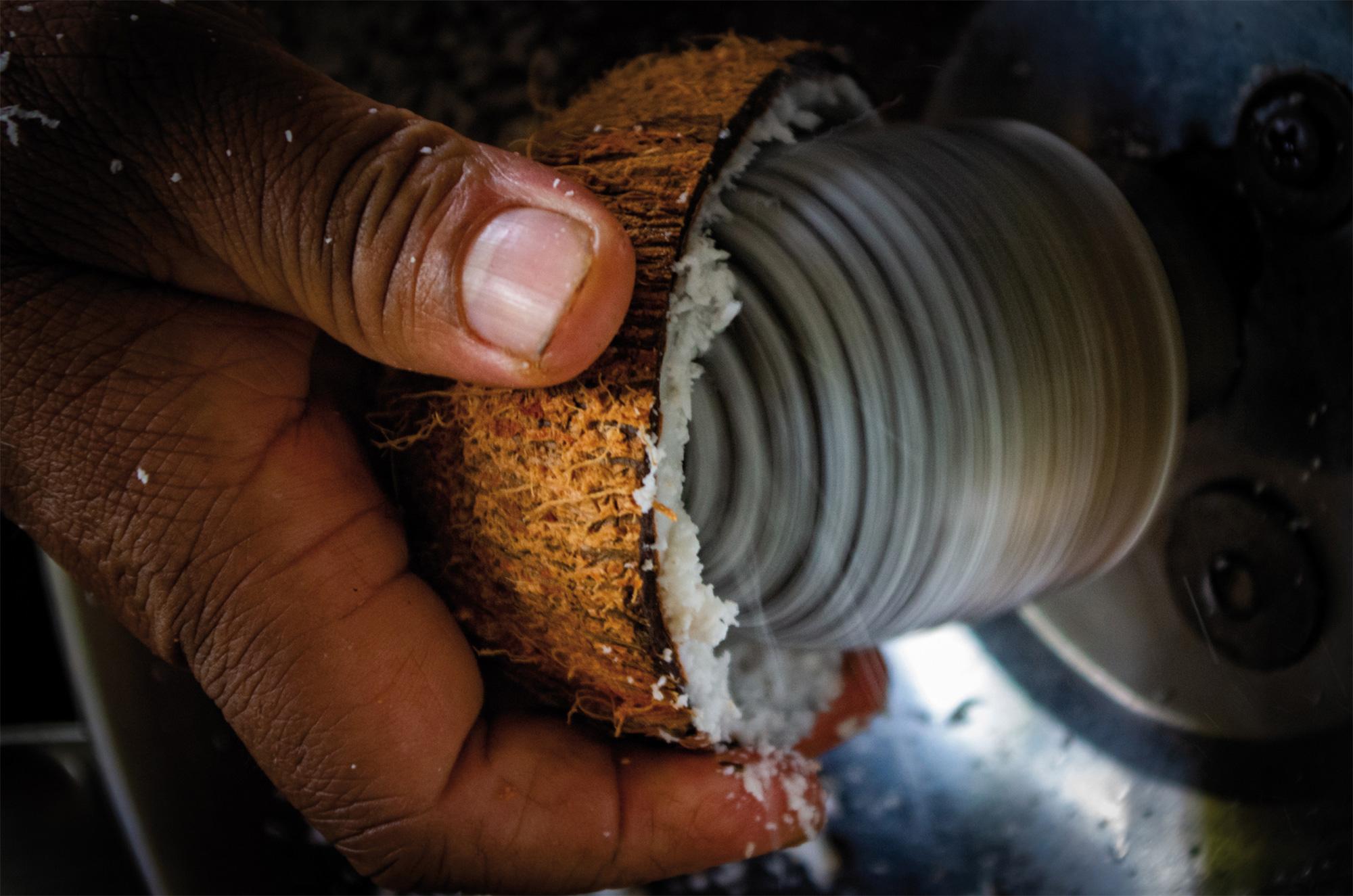 Kokosnuss-Reiben im Ayurveda Resort der one world foundation in Ahungalla, Sri Lanka, Foto: Ronald Jaklitsch