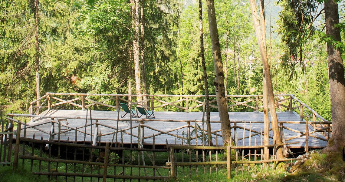 Unser Sonnendeck mit viel Grün drumherum