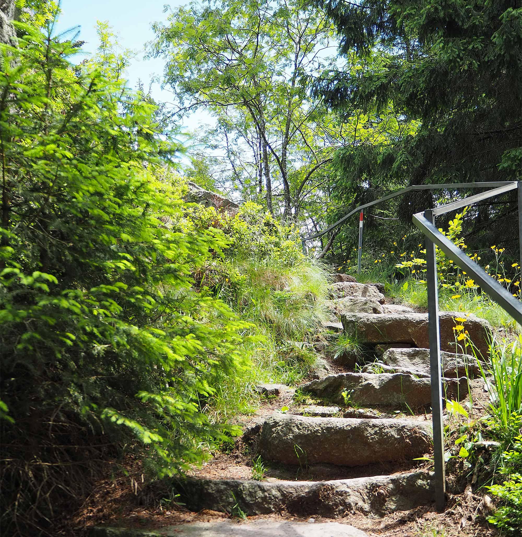 Eine Steintreppe führt hinauf zu dem Aussichtspunkt Bärenstein
