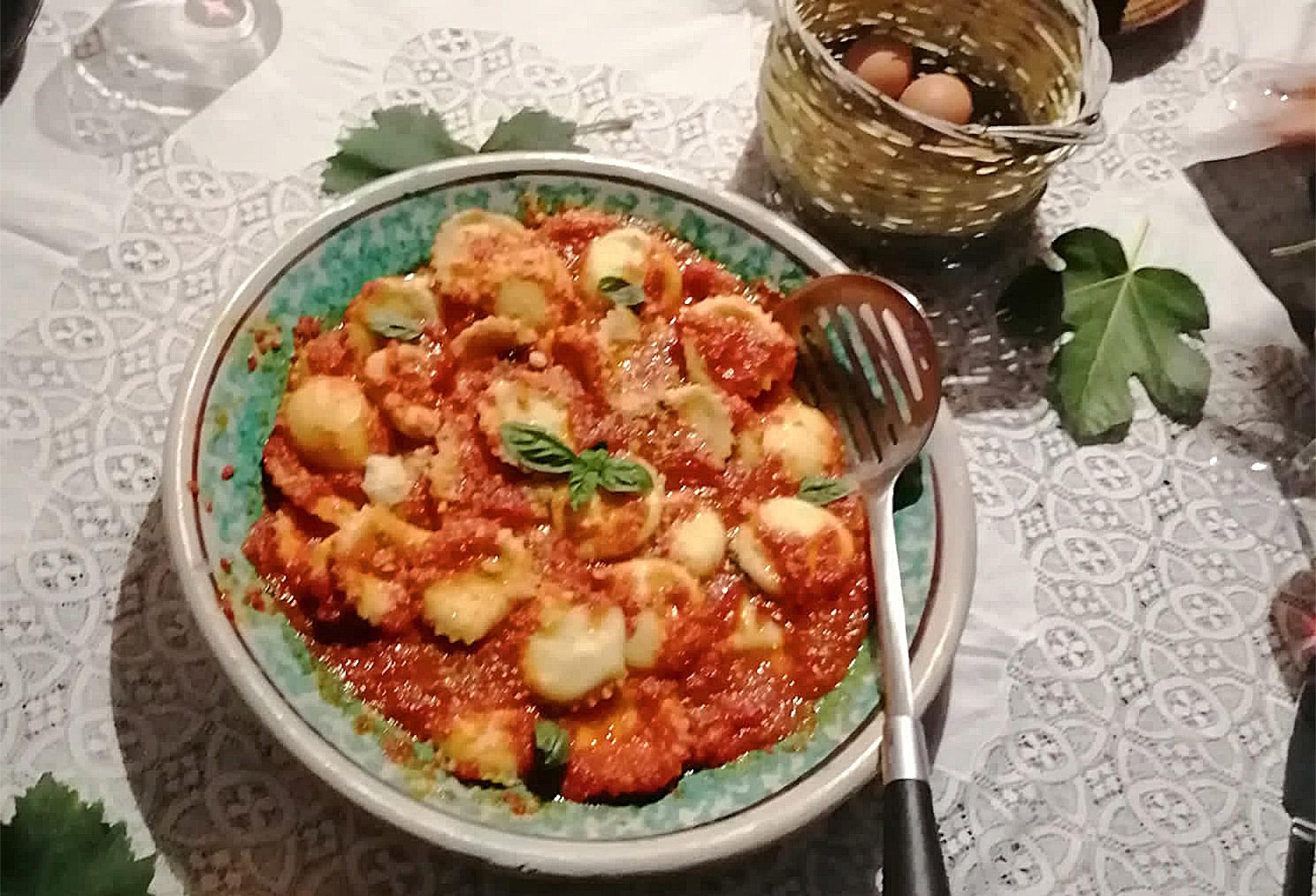 Das fertige Gericht: Ricotta-Ravioli aus Modica